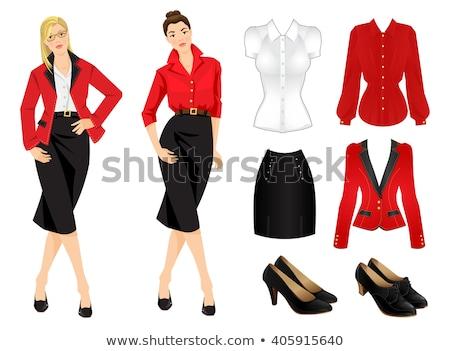 loiro · caucasiano · mulher · vermelho · blusa · isolado - foto stock © elnur