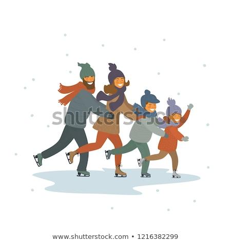 desenho · animado · patinador · menina · mulher · projeto · arte - foto stock © vectorikart