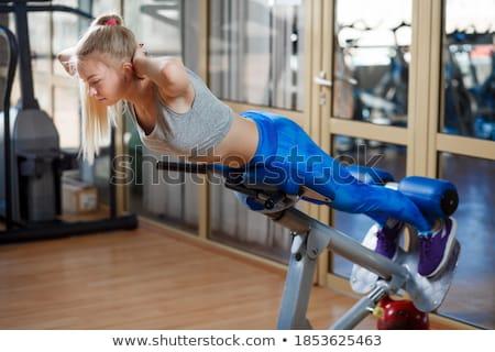 красоту Фитнес-женщины прессы студию изолированный белый Сток-фото © deandrobot