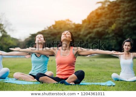Lány pilates természet illusztráció fitnessz testmozgás Stock fotó © adrenalina