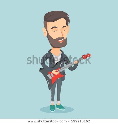 man playing electric guitar vector illustration stock photo © rastudio