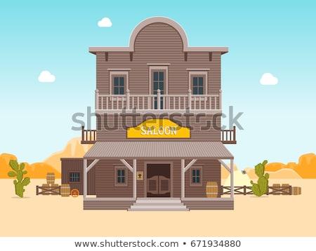Teken gebouw westerse stijlen illustratie huis Stockfoto © bluering