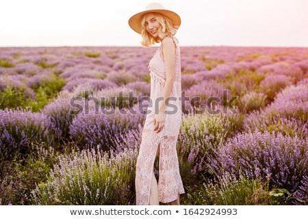 brunette · femme · fleur · Bush · posant - photo stock © deandrobot