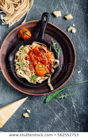 Tagliatelle domates kabak gıda akşam yemeği yemek Stok fotoğraf © M-studio