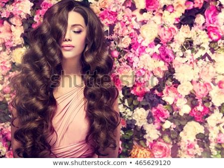 Hosszú hajú lány virág kép hippi hosszú haj Stock fotó © cteconsulting