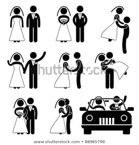 noiva · noivo · silhueta · casamento · dia · beijo - foto stock © krisdog