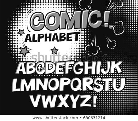 Comic retro black and white alphabet. Halftone background and de Stock photo © pashabo