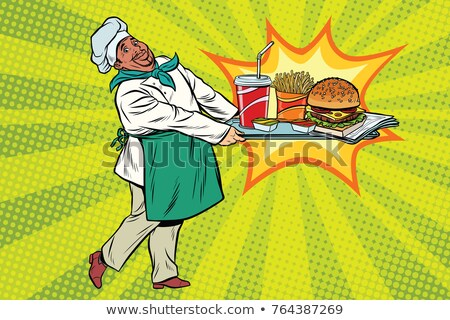 african chef brings a tray of fast food stock photo © studiostoks