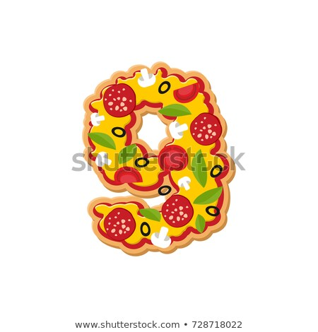Number 9 pizza font. Italian meal alphabet numeral nine. Lettrin Stock photo © popaukropa