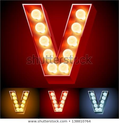 Stock fotó: Letter V Lamp Glowing Font Vintage Light Bulb Alphabet Retro A