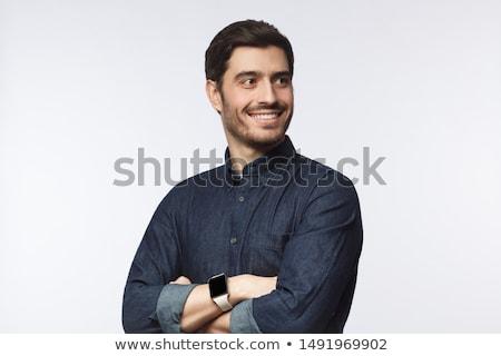 portré · figyelmes · szakállas · férfi · áll · másfelé · néz - stock fotó © deandrobot