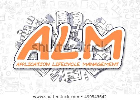 ALM - Cartoon Orange Text. Business Concept. Stock photo © tashatuvango