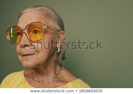 Gyönyörű nő arc gondolkodik semleges pop art retro Stock fotó © studiostoks