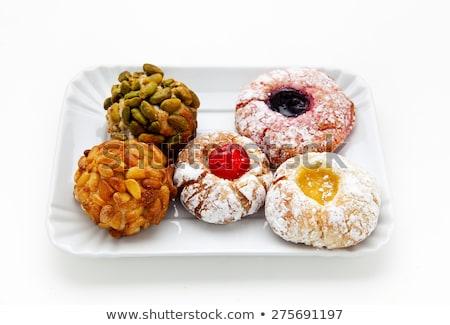 Mandorla cookies tradizionale ciliegie zucchero a velo alimentare Foto d'archivio © Digifoodstock