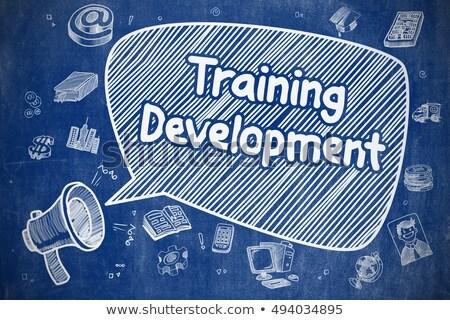 Stockfoto: Online · raadpleging · cartoon · illustratie · Blauw · schoolbord