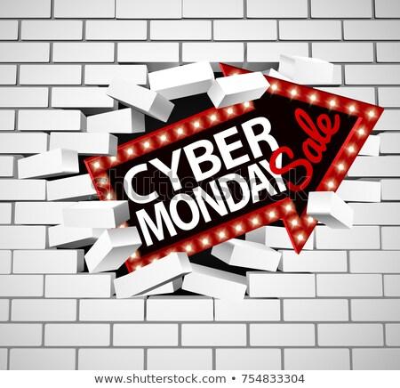 Cyber Monday Sale Sign Breaking Through Wall Stock photo © Krisdog