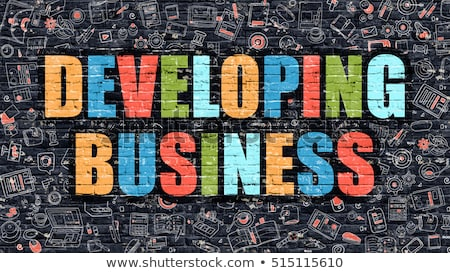 Multicolor Business Solution on Dark Brickwall. Doodle Style. Stock photo © tashatuvango