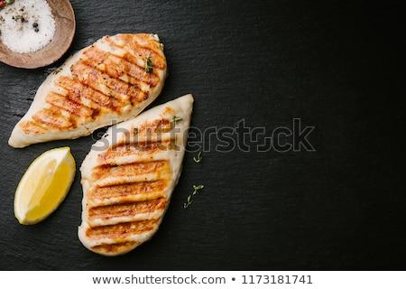 Pollo alla griglia filetto nero top view pollo Foto d'archivio © yelenayemchuk