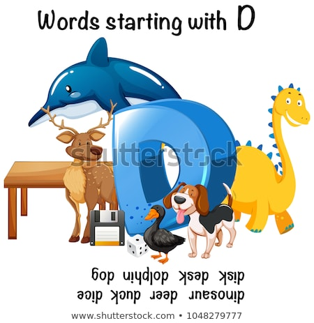 Different words starting with D on white background Stock photo © bluering