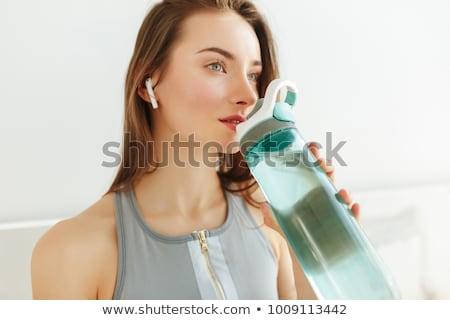 Portret fitness vrouw gras Stockfoto © deandrobot