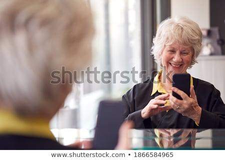 idős · nő · tükröződő · nők · fény · kék - stock fotó © FreeProd