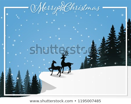 Christmas holiday background. Snow winter landscape with elk Stock photo © Terriana