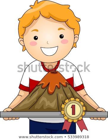 Kid jongen wetenschap eerlijke vulkaan winnaar Stockfoto © lenm