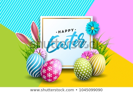 Vector Illustration of Happy Easter Holiday with Painted Egg, Rabbit Ears and Flower on Shiny Blue B Stock photo © articular