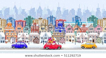 Stock photo: Winter cityscape, seamless