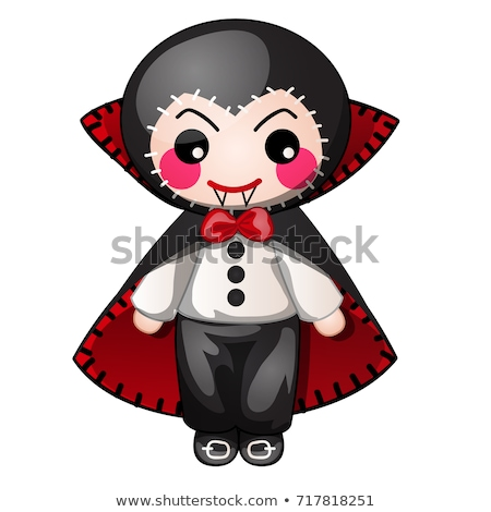 Funny count Dracula with contours in form of strokes and dotted lines isolated on white background.  Stock photo © Lady-Luck