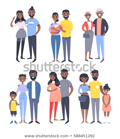 Teen Girl Vector. Black. Afro American. Teenager. Positive Person. Face Emotions, Various Gestures.  Stock photo © pikepicture