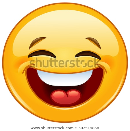 Laughing out loud with closed eyes emoticon Stock photo © yayayoyo