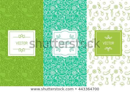 Stock photo: Healthy food line icons seamless pattern background