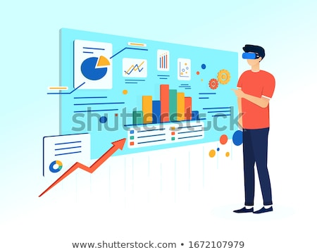 Man standing with VR goggles and graphs charts Stock photo © ra2studio