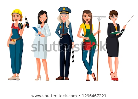 Cartoon Smiling Police Officer Woman Stock photo © cthoman