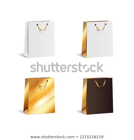 Foto stock: Black · friday · venda · realista · papel · bolsa · de · compras · isolado