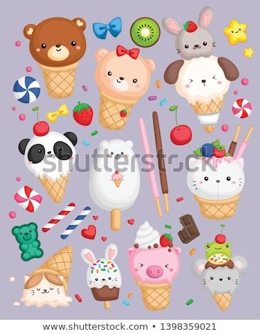 Star-shaped ice cream with fruits Stock photo © BarbaraNeveu