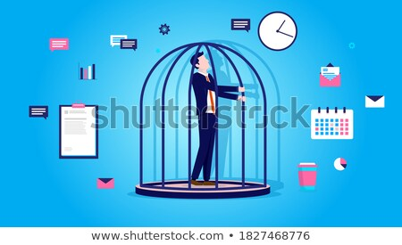Office Cage. businessman is trapped. Vector illustration. Stock photo © MaryValery