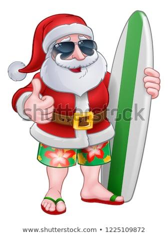 Сток-фото: Santa Claus Surfing Christmas Cartoon