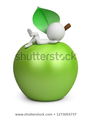 3D · pequeno · pessoas · maçã · pessoa - foto stock © anatolym