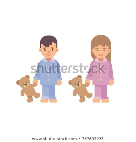 dos · cute · pequeño · ninos · pijama - foto stock © IvanDubovik