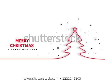 Zdjęcia stock: Minimalny · line · choinka · tle · zimą · karty