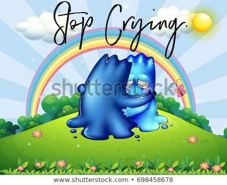 Two monsters hugging in park with phrase stop crying Stock photo © colematt