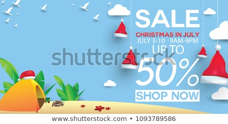 Santa Claus and Reindeer Surf Beach Christmas Sign Stock photo © Krisdog
