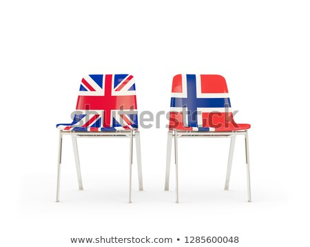 two chairs with flags of uk and norway isolated on white stock photo © mikhailmishchenko