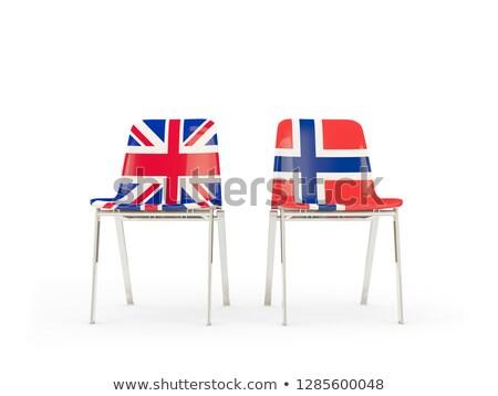 Stockfoto: Twee · stoelen · vlaggen · Noorwegen · geïsoleerd · witte