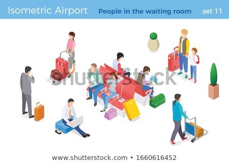 Empresario maleta caminando sala de espera atrás blanco Foto stock © ra2studio