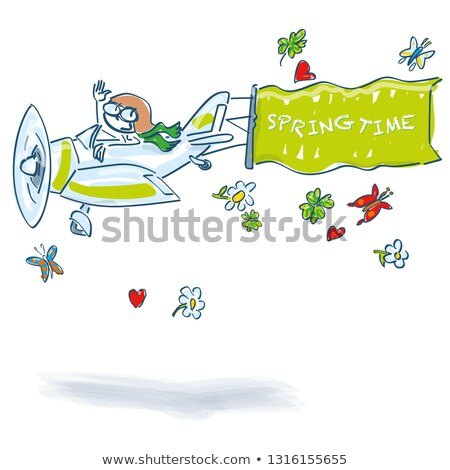 Stick figure flies with a small plane in the spring Stock photo © Ustofre9