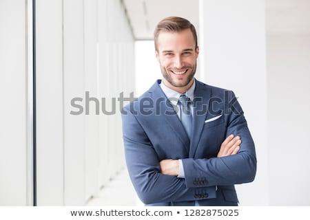adam · dizüstü · bilgisayar · gülen · portre · başarı - stok fotoğraf © deandrobot