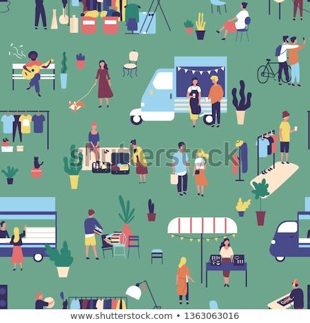 Street food Festival Design Stil farbenreich Illustration Stock foto © Decorwithme